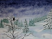 Winter Landscape Painting Originals - Winter scene with eagle by Georgeta  Blanaru