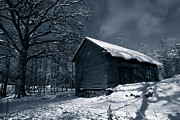 Snow Scape Posters - Winter Scenery In Blue Poster by Christian Lagereek