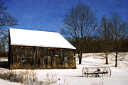 Wooden Building Posters - Winter Scenic Farm Poster by Christina Rollo