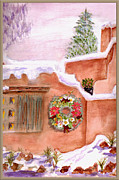 Taos Mixed Media Posters - Winter Season Adobe Poster by Paula Ayers
