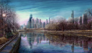 Hancock Building Digital Art Metal Prints - Winter Serenity Deep Metal Print by Doug Kreuger