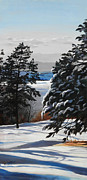 Mountain Scene Paintings - Winter Serenity by Suzanne Schaefer