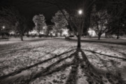 Town Square Prints - Winter Shadows And Xmas Lights Print by Sven Brogren
