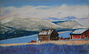 Sheds Pastels Framed Prints - Winter Sheds Framed Print by Tom Garfield