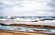 Lake Michigan Digital Art Metal Prints - Winter Shore Metal Print by Michelle Calkins