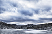 Winter Storm Metal Prints - Winter Sky over Lake Metal Print by Thomas R Fletcher