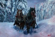Santa Claus Paintings - Winter Sled Horses Stomping through Snow by M Bleichner