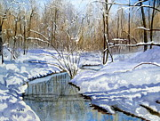 Lake Wylie Prints - Winter Snow 1 Print by Julia Rietz
