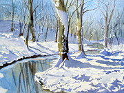 Lake Wylie Prints - Winter Snow 2 Print by Julia Rietz