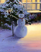 Kinkade Painting Prints - Winter Snow Man Print by Cecilia  Brendel