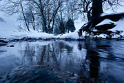 Franklin Farm Posters - Winter Snow on Stream Poster by John Magyar Photography