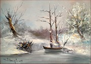 Italian Landscapes Paintings - Winter Snow by S Raugi