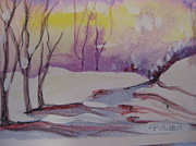 Snowfall Paintings - Winter Snow Scene by Gretchen Allen