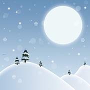Snow-covered Landscape Digital Art Posters - Winter Snow Scene Poster by Phil Perkins