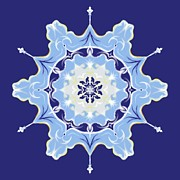 Doily Digital Art - Winter Snowflake Abstract by MM Anderson