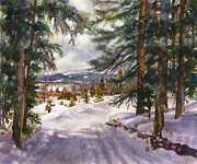 Snowy Trees Paintings - Winter Solace by Anne Gifford