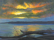 Mississippi River Painting Originals - Winter Solstice at the confluence of the Mississippi and the Missouri Rivers by Garry McMichael