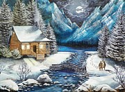 Mountain Cabin Paintings - Winter Solstice by Kevin F Heuman