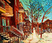Streets Of Verdun Montreal  By Carole Spandau Paintings - Winter Staircase by Carole Spandau