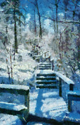 Blanket Digital Art Framed Prints - Winter Stairway Framed Print by Michelle Calkins