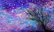 Blue And Purpe Posters - Winter Starry Night Poster by Ann Powell