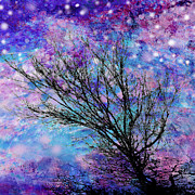 Signed Mixed Media - Winter Starry Night Square by Ann Powell