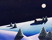 Snowscape Paintings - Winter Stillness by Christine Schwander