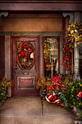 Christmas Doors Framed Prints - Winter - Store - Metuchen NJ - Dressed for the holidays Framed Print by Mike Savad