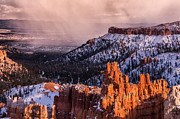 Storm Photographs Posters - Winter Storm at Bryce Canyon Poster by Rob Travis