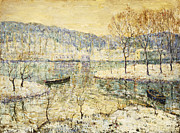 Docked Boat Painting Prints - Winter Stream Print by Ernest Lawson