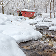 Winter Landscapes Metal Prints - Winter Stream Square Metal Print by Bill  Wakeley