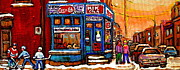Restaurant Signs Paintings - Winter Stroll Beautiful Sunny Day Montreal Street Scene  - Verdun Depanneur Hockey City Scene  by Carole Spandau