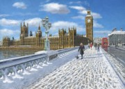 River Scenes Paintings - Winter Sun - Houses of Parliament London by Richard Harpum