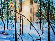 Snowscape Paintings - Winter Sun by Nancy Milano