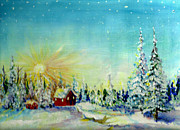 Snow-covered Landscape Painting Posters - Winter sun Poster by Sarabjit Singh