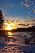 White River Scene Posters - Winter Sundown Poster by Joann Vitali