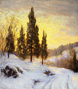 Hilly Landscape Metal Prints - Winter Sundown Metal Print by Walter Launt Palmer