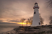 Lake Erie Framed Prints - Winter Sunrise at Marblehead Lighthouse Framed Print by At Lands End Photography