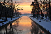 Winter Sunrise At Mitchell State Park Print by Terri Gostola