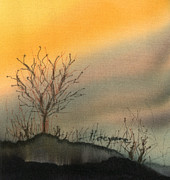 Dyes On Silk Posters - Winter Sunset Poster by Addie Hocynec