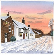 Winter Sunset At 'the Wheatsheaf' - Raby - Wirral Print by Peter Farrow