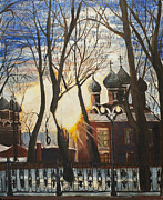 Moscow Paintings - Winter Sunset by Katerina Kopaeva