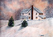 Historic Home Painting Prints - Winter Sunset on Winterton  Print by Janine Riley