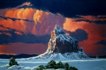 Desert Landscape Paintings - Winter Sunset Over Shiprock by Randy Follis