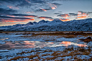 Clouds Prints - Winter Sunset Reflection Print by Cat Connor