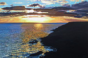 Sun Rays Painting Posters - Winter Sunset Seascape at Ballycotton Cliffs Poster by Niall McCarthy