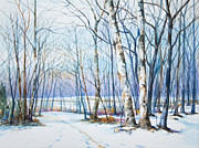 Winter Landscape Painting Originals - Winter Sycamore Tamanend Park by Patricia Allingham Carlson