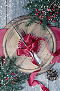 Ribbon Posters - Winter Table Setting Poster by Christopher and Amanda Elwell