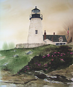 Pemaquid Lighthouse Painting Framed Prints - Winter Thaw Framed Print by Monte Toon