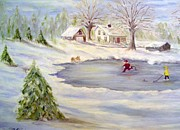 New England Snow Scene Painting Framed Prints - Winter Time Fun Framed Print by Anne Barberi
